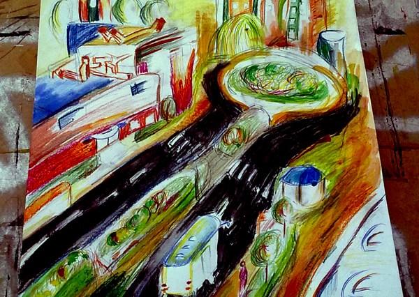 Malba města z velké výšky, která je ale velmi rozostřená a barevná, není založena uplně na realitě. Vidíme silnici, kruhový objezd a spoustu domů.