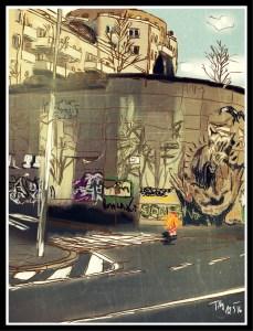 Digitální malba zrzavé holky na přechodu pro chodce uprostřžed města - vidíme panelové domy, silnici a obrovskou zeď s grafitti.