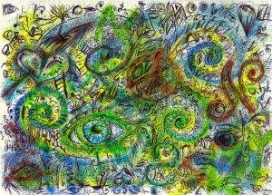 Malba foukacími fixy a detailní černý fix - spousta detailů a očí na zeleném pozadí