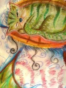 Malba suchým pastelem - zelená kočička spí na veliké květině.