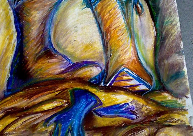 Zátiší v žlutomodré barvě - zimní boty na drapérii s modrými rukavicemi.