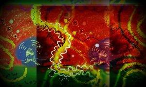 Červenožlutá digitální malba, spíše abstraktního ražení, uprostřed stojí dvě figurky, jinak jde o červené pozadí se žlutým pásem.