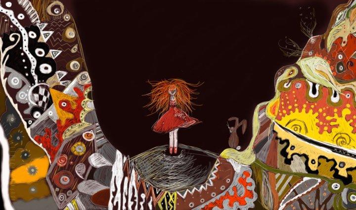 Digitální malba zrzavé holky, která stojí mezi dvěma velkýma barevnýma detailníma horama ve tmě - paralela Alenky v říši divů, která dopadá v králičí noře na dno.