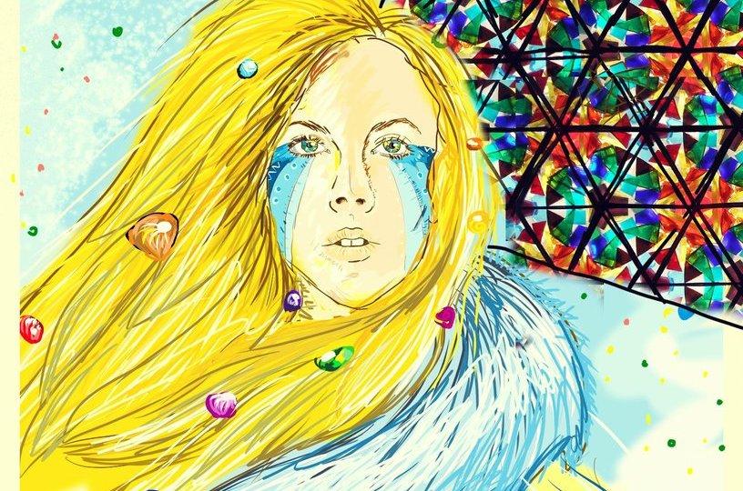 Malba blondýny s modrou pelerínou a malbou na obličeji, za ní je obrovský kus nebe pokryt výřezem z kaleidoskopu. Obraz má reprezentovat Lucy in the Sky with Diamonds.
