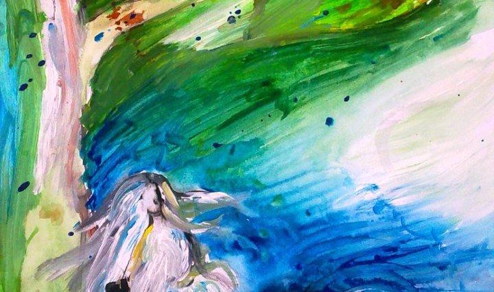 Malba ženské postavy, která sedí pod stromem, vše je provedeno v impresionistickém stylu, velmi lehce, nebe za postavou je modré.