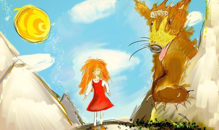 Digitální malba postavičky, která stojí na kopci, vedle ní je obrovský medvěd nebo jemu podobné zvíře, které se směje. Je hezky, na modrém nebi je pár mráčků a jasné slunce.