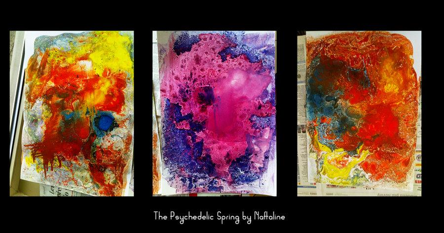 """""""Benziňáky"""" - malby abstraktního rázu, které vzniknou, když se výkres přiloží na olejové malby rozmíchané v benzínu. Spousta skvrn a zvláštních barevných tvarů."""