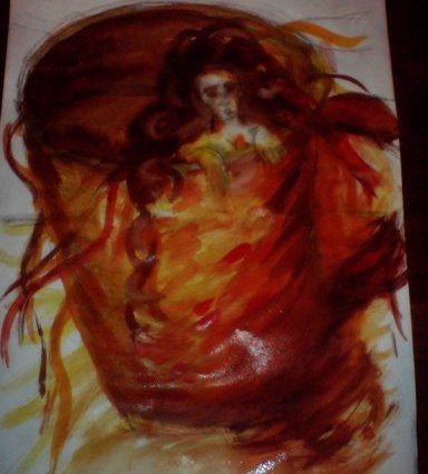 Malba maličké ženy, která sotva vykukuje z obrovského hnědého květináče.