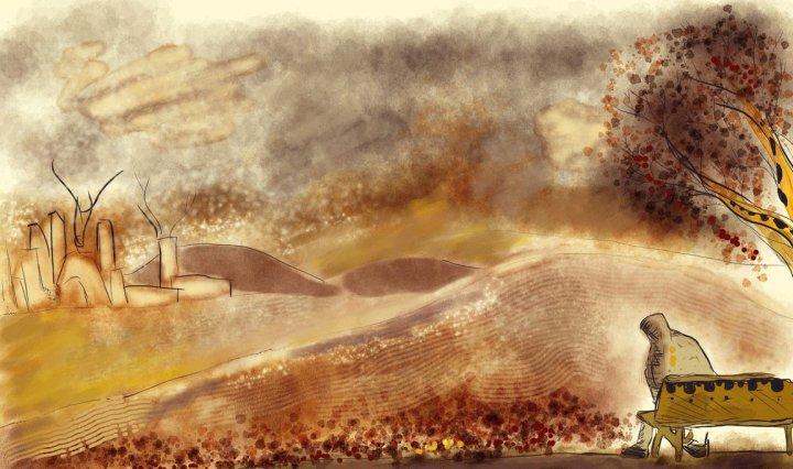 Digitální malba podzimní krajiny ve hnědých odstínech, kde vepředu sedí mužská postava schoulená na lavičce.