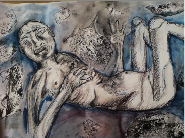 Malba nešťastného člověka, velmi hubeného a křehkého, který leží a kolem něj jsou nalepené natrhané pomačkané kusy papíru, přetřené barvou.