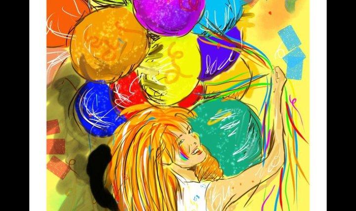 Zrzavá holka na žlutém pozadí drží spoustu duhových balonků.