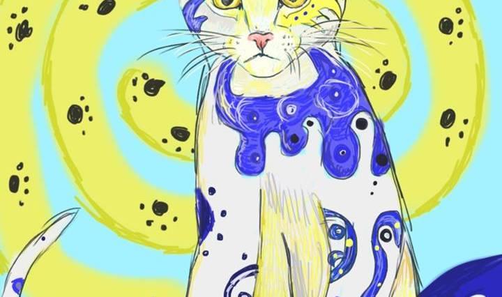 Digitální malba modrobílé kočky, která sedí na modré dece, za ní se nachází žlutomodrá spirála se spoustou malých, černých pacek.