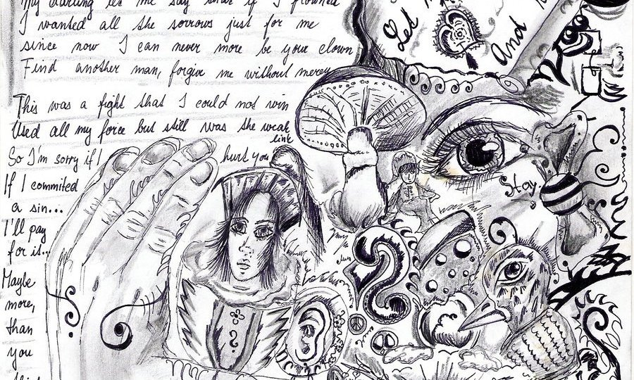 Velmi detailní ilustrace, černobílá, plná drobných předmětů, osob a zvířat. Celou ilustraci doprovází text Return to me J. G. Midgeyho.