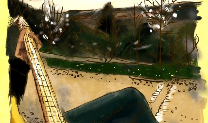 Digitální malba parku Sacre Coeur v Praze, kde vepředu na lavičce sedí postava se žlutou baskytarou.