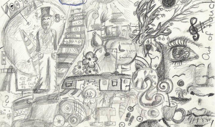 Velmi komplexní malba tužkou se spoustou detailů, obličejů, otazníků.