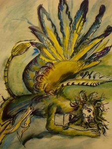 Obraz malovaný ve stylu středověkých bestiářů - postavička s bradkou a divokými vlasy v špatně nasvícené místnosti s obrovskými ptačími křídly a ocasem lva.