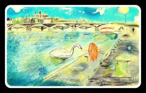 Digitální malba zrzavé holky, která sedí na Náplavce s obrovskou labutí.