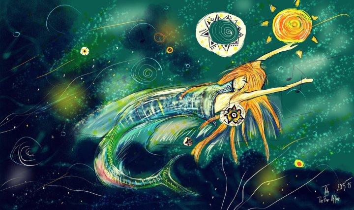 Digitální malba zrzavé holky, která má rybí ocas a pluje si napůl v tmavě zeleném prostoru.