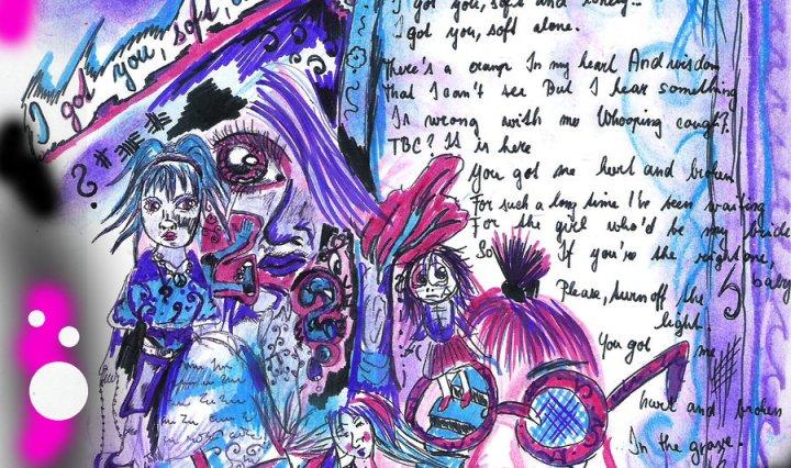 Ilustrace v modrofialové barvě k písničce Graveyard of J. G. Midgeyho. Na obrázku je spousta barevných detailů, osoba s velkými brýlemi, text písně je napsán na náhrobku.