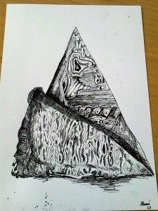Detailní kresba dřeva černou tuší na bílém papíře.