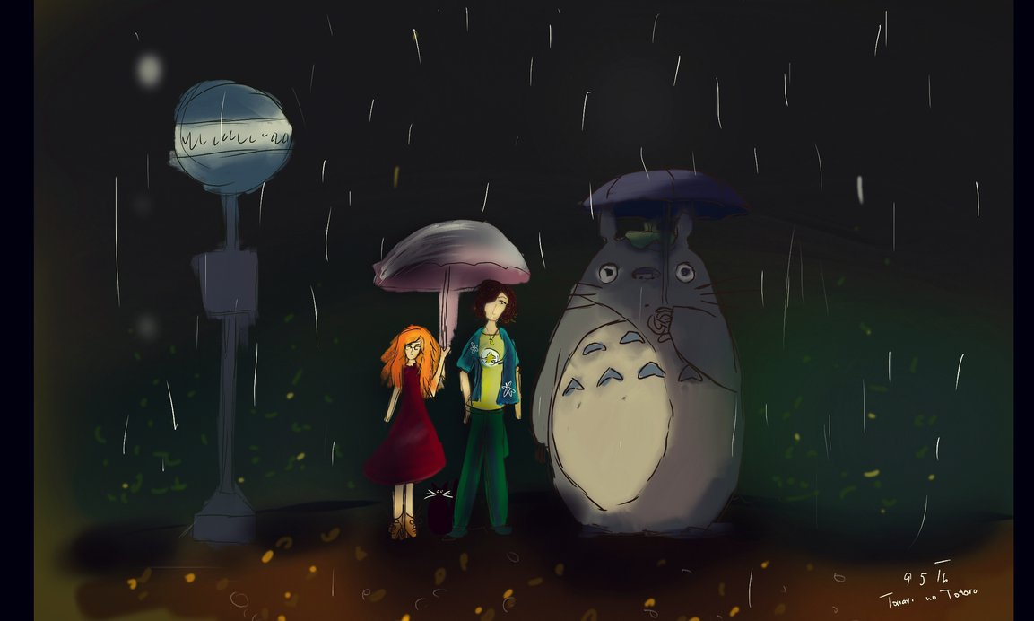Zrzavá holka s jinou vysokou postavou a Totorem čekají na autobusové zastávce ve tmě a v dešti.