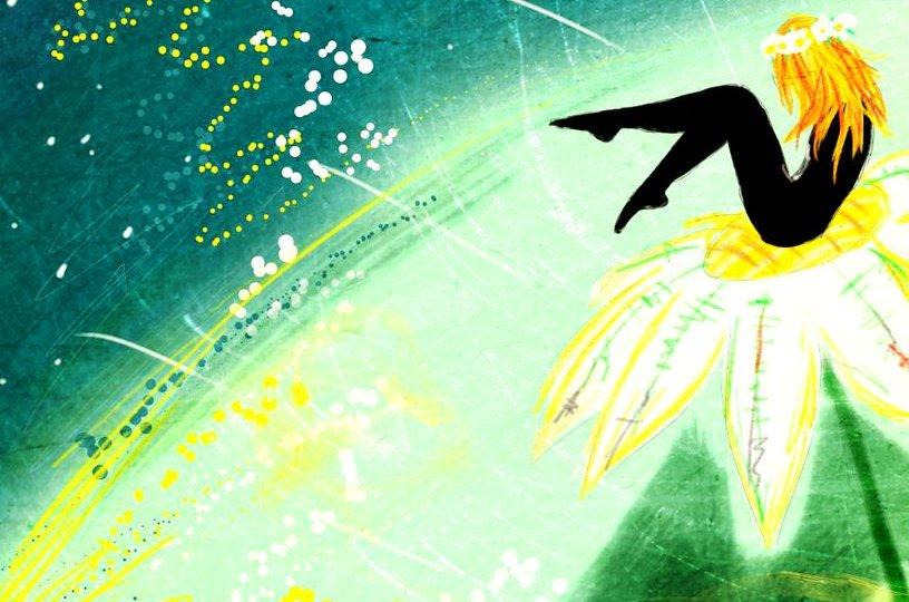 Digitální malba zrzavé holky - z jejího těla vidíme jen siluetu - sedí na květině a za ní je modrozelené pozadí s kapičkami bílé a žluté barvy.