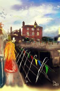 Digitální malba Zrzavé holky a Zity, které spolu stojí na mostě s barevnými vlaječkami v docích v Liverpoolu.