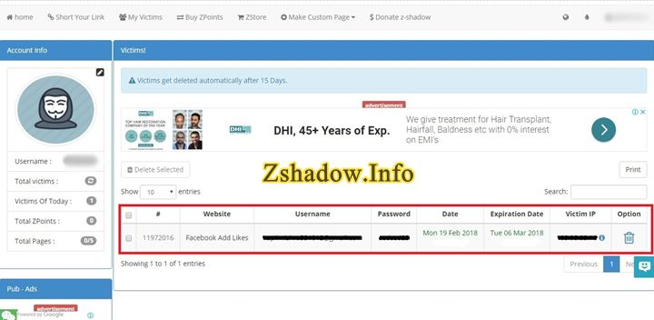 Z Shadow Victim Tab Login Password Details
