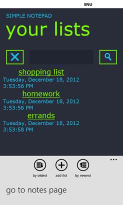 5 - Lists Page