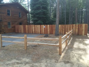 Split rail with 6' redwood