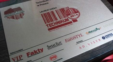 Godło TECHNIKUM ROKU 2014 dla Sportowej
