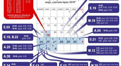 Harmonogram egzaminów zawodowych czerwiec-lipiec 2018