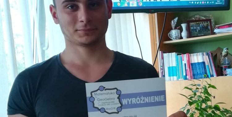 Wiktor Morawiak( II ME) wyróżniony w ogólnopolskim konkursie Matematyka&Geogebra – MaGIK