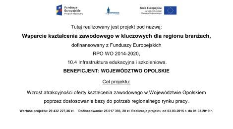 """Projekt """"Wsparcie kształcenia zawodowego w kluczowych dla regionu branżach"""""""