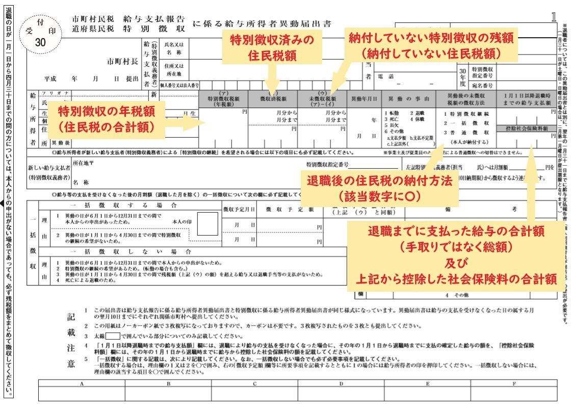 大阪市の住民税異動届(給与所得者異動届出書)の書き方その1