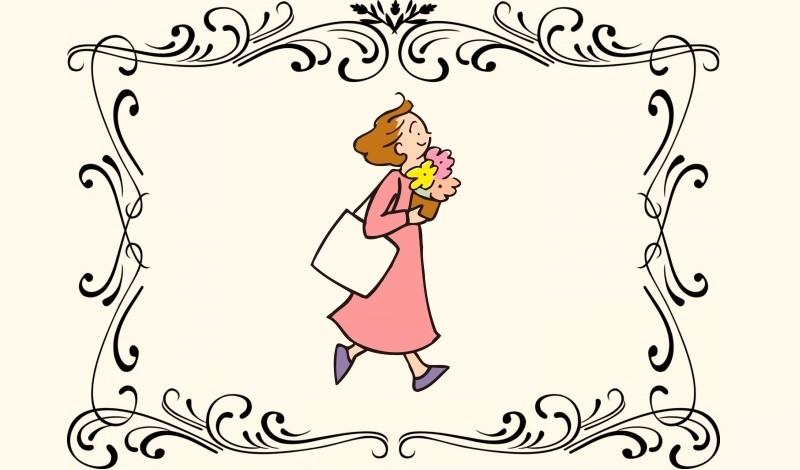贈与するためにいそいそと走る女性
