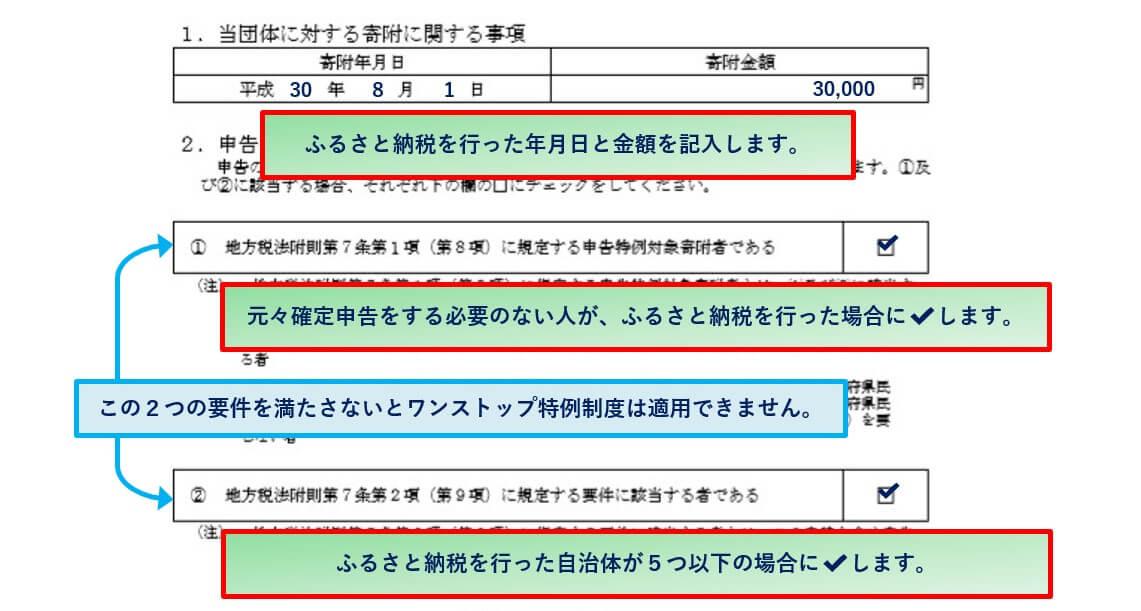 ワンストップ特例制度の申請書記入例②