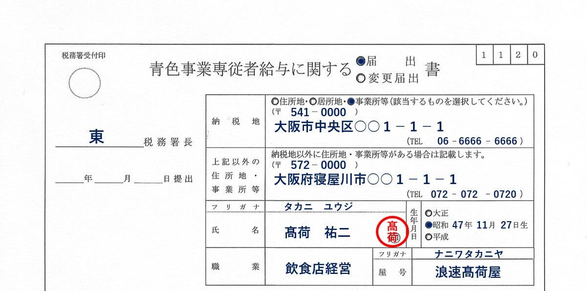 青色事業専従者給与に関する届出書の書き方1