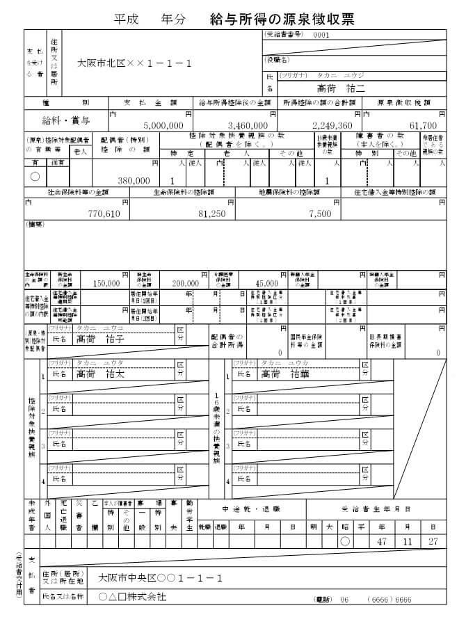 源泉徴収票の見本