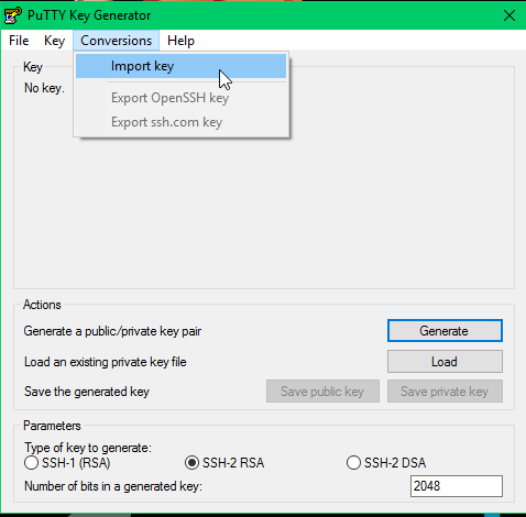 Import PuTTY Keyfile