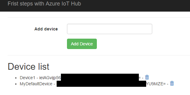 Azure IoT hub control with ASP net