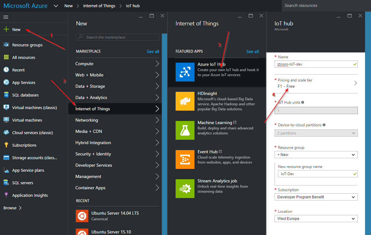Frist steps with Azure IoT Hub - ztirom