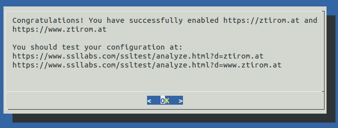 Setup SSL Lets Encrypt Success