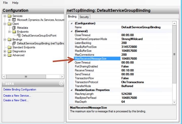 Set the MaxReceivedMessageSize in WCF Testclient Configuration