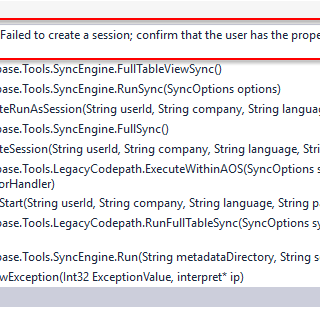 AX7 D365 DB Sync Error: Failed to create a session