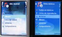 Biblioteca musical: í esquerda, o N73. í€ direita, o Music Edition