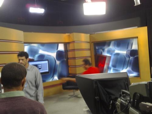 O estúdio do programa antes da gravação