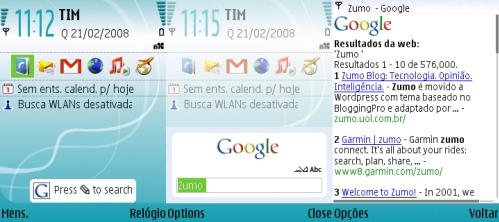Busca Google no Nokia: atalho, janela de busca e resultados