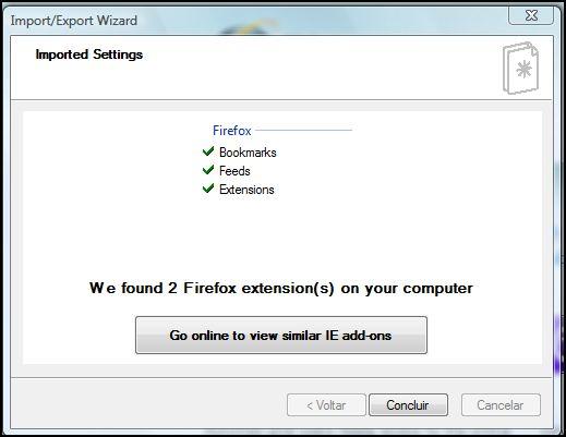O IE8 encontrou duas extensões do Firefox…