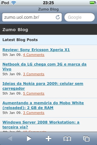 Zumo visto no iPod touch